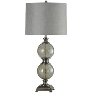 Black One-Light Table Lamp with Grey Hardback Fabric Shade