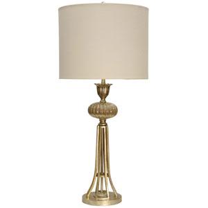 Gold One-Light Table Lamp with Cream Hardback Fabric Shade