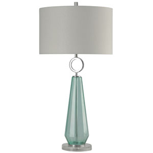 Silver and Clear Blue One-Light Table Lamp