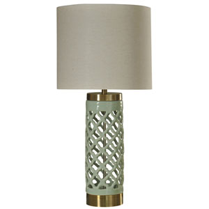 Mint and Gold One-Light Table Lamp