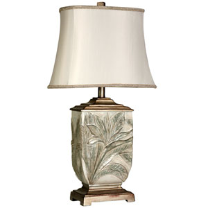 White With Brass Accents One-Light Table Lamp