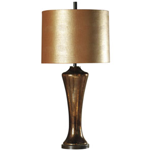 Dark Brown One-Light Table Lamp with Old Gold Hardback Fabric Shade