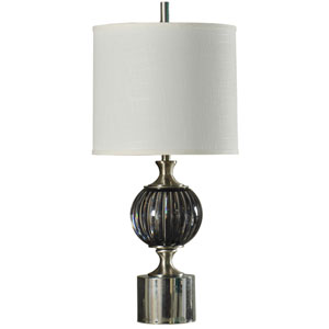 Black and Brushed Steel One-Light 36-Inch Table Lamp