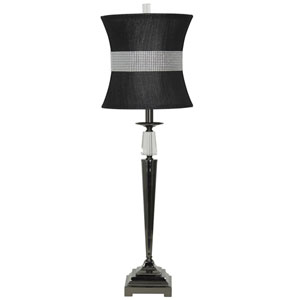 Black Nickel One-Light Table Lamp with Black Softback Fabric Shade
