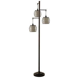 Bronze Three-Light Floor Lamp with Geneva Ivory Hardback Fabric Shade