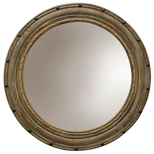 Natural Wood Rope and Rivets Round Wall Mirror