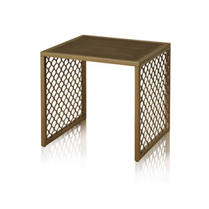 Bronze Side Table with Lower Shelf