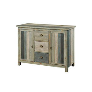 Gray Sanibel Breakfront with Three-Drawers Two-Doors Credenza
