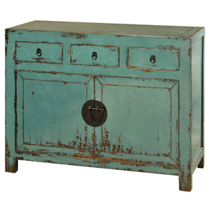 Antique Turquoise Asian Inspired Two-Door and Three-Drawer Cabinet