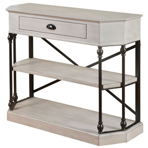 Antique White Three-Tier Single-Drawer Clipped Corner Console Table