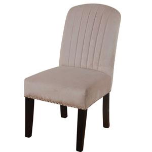 Blush Velvet Channel Back Parson Dining Chair, Set of 2