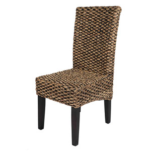 Water Hyacinth Black and Warm 17-Inch Chair, Set of Two