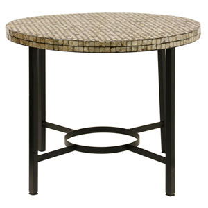 Black Metal Base Side Table with Sheel Inlay