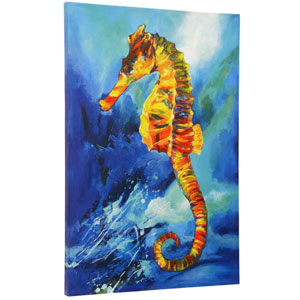 Blue Textured Sea Horse Hand Embellished Print Stretched Canvas Wall Art