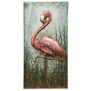 Multicolor Three Dimensional Metal Flamingo Wall Art