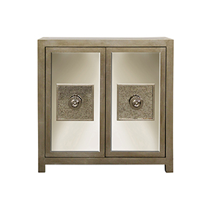 Andes Silver Leaf Mirror Door Cabinet