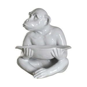 Chimp White Tray Statue