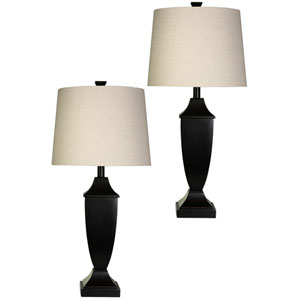 Bronze Wood One-Light Table Lamps - Set of 2