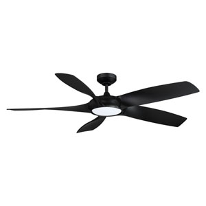 Blade Runner Black LED Ceiling Fan with Black Blades