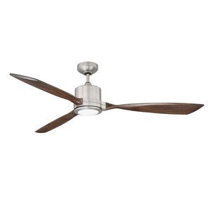 Altair Satin Nickel 60-Inch LED DC Motor Ceiling Fan with Dark Maple Blades