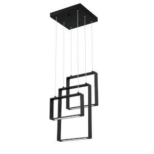 Quadron Black Three-Light LED Integrated LED Pendant