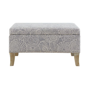 Silas Rustic Gray Upholstered Storage Bench