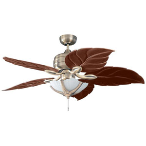 Copacabana 52-Inch Havana Brass with Leaf Style Oak Blades Ceiling Fan