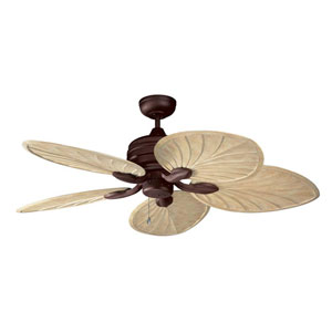 Copacabana 52-Inch Havana Brass with Palm Style Washed Oak Blades Ceiling Fan