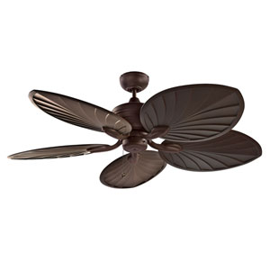 Copacabana 52-Inch Oil Rubbed Bronze with Palm Style Walnut Blades Ceiling Fan