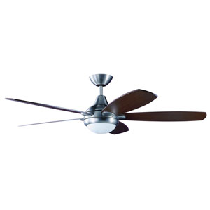 Espirit 52-Inch Satin Nickel with Reversible Teak and Walnut Blades Ceiling Fan