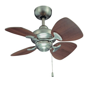 Aires 24-Inch Satin Nickel with Royal Walnut Blades Ceiling Fan