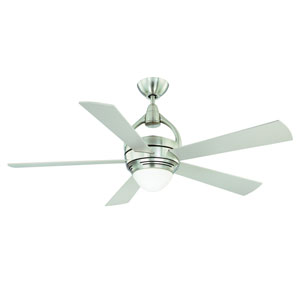 Premia 52-Inch Satin Nickel with Silver Blades Ceiling Fan