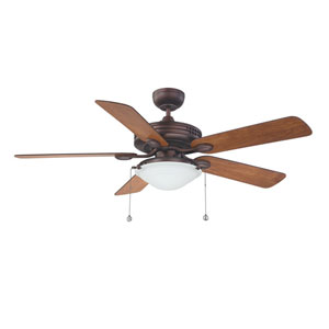 Builders Choice 52-Inch Oil Brushed Bronze with Reversible Elmwood and Rubbed Bronze Blades Ceiling Fan