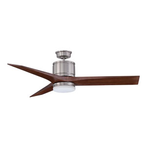 Woodstock 52-Inch Satin Nickel with Walnut Blades Ceiling Fan