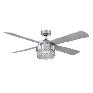 Celestra 52-Inch Chrome and Optic Crystal with Silver Blades Ceiling Fan