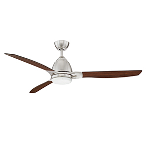 Eris Satin Nickel 52-Inch LED Ceiling Fan with Walnut Blades