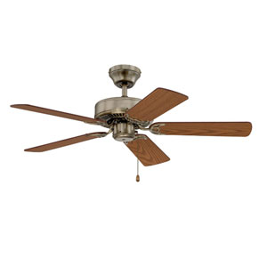 Builders Choice 42-Inch Antique Brass with Reversible Light and Medium Oak Blades Ceiling Fan