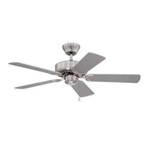Builders Choice 42-Inch Satin Nickel with Reversible Silver and White Blades Ceiling Fan