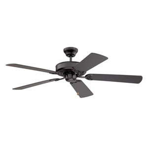 Builders Choice 52-Inch Black with Black Blades Ceiling Fan