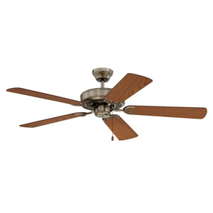 Builders Choice 52-Inch Antique Brass with Reversibel Light and Medium Oak Blades Ceiling Fan