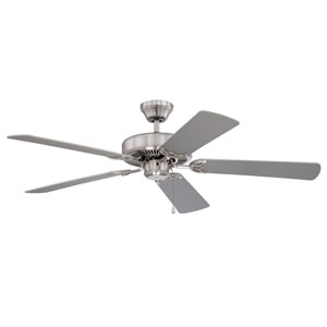 Builders Choice 52-Inch Satin Nickel with Reversible Silver and White Blades Ceiling Fan