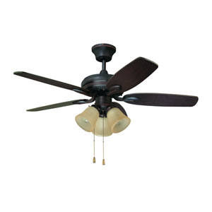 Cordova 42-Inch Copper Bronze with Matching Blades and Caspian glass shades Ceiling Fan