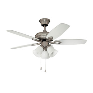Cordova 42-Inch Satin Nickel with Reversible Maple and White Blades Ceiling Fan