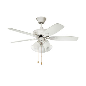 Cordova 42-Inch White with White Blades and White glass shades Ceiling Fan