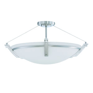 Portobello Satin Nickel Four-Light 23-Inch Semi-Flush Mount