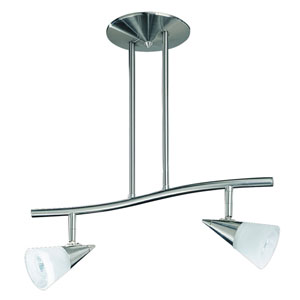 Apex Satin Nickel Two-Light 18.5-Inch Fixed Rail