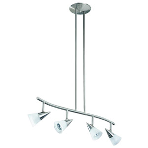 Apex Satin Nickel Four-Light 32.5-Inch Fixed Rail