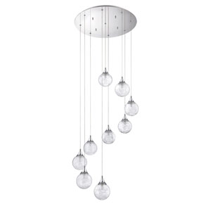 Fybra Chrome Nine-Light 22-Inch Mini-Pendant