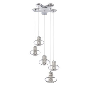 Aria Chrome Five-Light 19-Inch Mini-Pendant