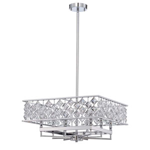 Milano Chrome Eight-Light 21-Inch Chandelier